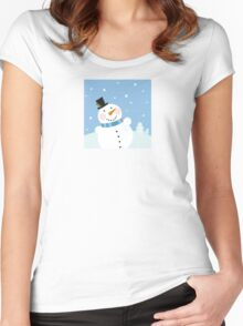 Christmas winter snowman background. Cute snowman in christmas snowy nature Women's Fitted Scoop T-Shirt
