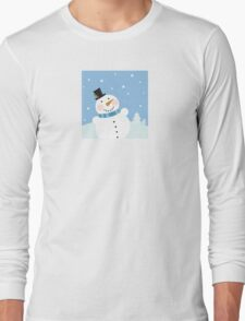 Christmas winter snowman background. Cute snowman in christmas snowy nature Long Sleeve T-Shirt