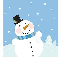 Christmas winter snowman background. Cute snowman in christmas snowy nature Photographic Print
