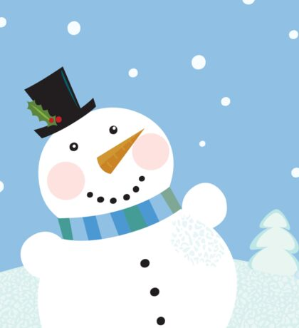 Christmas winter snowman background. Cute snowman in christmas snowy nature Sticker