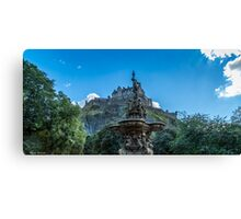 Edinburgh Castle and Ross Fountain  Canvas Print