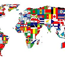 World map and flags collage by Kzduniak