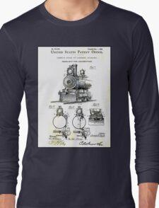 TRAIN LOCOMOTIVE; Vintage Patent Print Long Sleeve T-Shirt