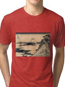 Hongan-ji Temple at Asakusa in the Eastern Capital - Hokusai Katsushika Tri-blend T-Shirt