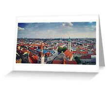 Munich city panorama from St Peterskirche Greeting Card