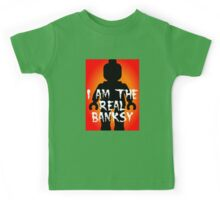 """Black Minifig with """"I am the Real Banksy"""" slogan, Customize My Minifig Kids Tee"""