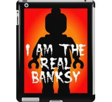 "Black Minifig with ""I am the Real Banksy"" slogan, Customize My Minifig iPad Case/Skin"