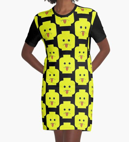 Rude Minifig Face Sticking Tongue Out  Graphic T-Shirt Dress