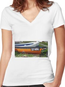 Orange and Blue Women's Fitted V-Neck T-Shirt