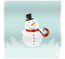 Christmas winter snowman. Cute snowman in christmas snowy nature. Poster