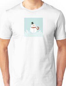 Christmas winter snowman. Cute snowman in christmas snowy nature. Unisex T-Shirt