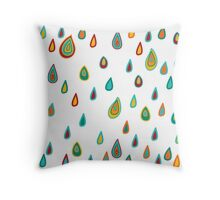 Colorful pattern with raindrops Throw Pillow