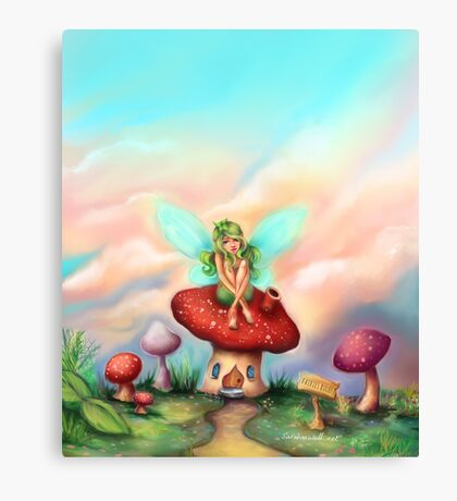 Green Fairy on Toadstool at Sunset Canvas Print