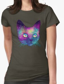 Galactic Cat Womens Fitted T-Shirt
