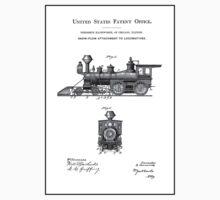 TRAINS LOCOMOTIVES; Vintage Patent Print One Piece - Long Sleeve