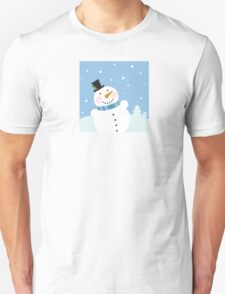 Christmas winter snowman background. Cute snowman in christmas snowy nature Unisex T-Shirt