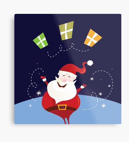 Santa claus with christmas presents. Cute christmas Santa in red costume Metal Print