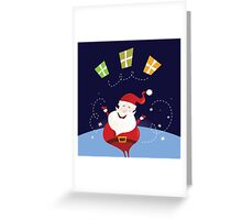Santa claus with christmas presents. Cute christmas Santa in red costume Greeting Card