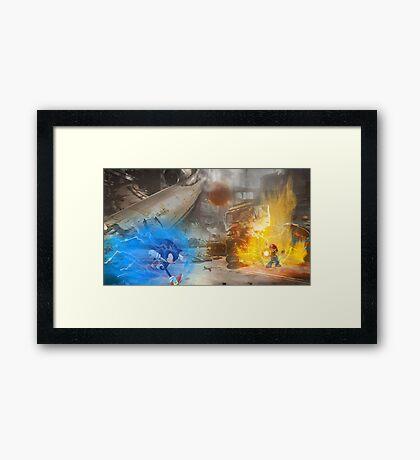 Mario vs. Sonic poster Framed Print