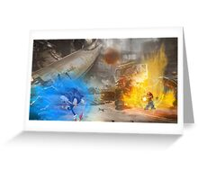 Mario vs. Sonic poster Greeting Card