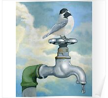 Chickadee realistic bird portrait on old water faucet painting Poster