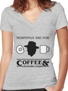 Stranger Things : Coffee & Contemplation Women's Fitted V-Neck T-Shirt