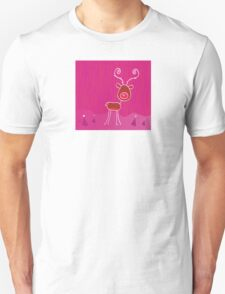 Doodle christmas reindeer Rudolph on snow. Red-nosed reindeer Rudolph Unisex T-Shirt