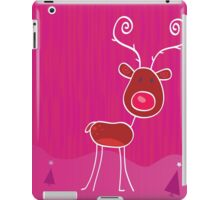 Doodle christmas reindeer Rudolph on snow. Red-nosed reindeer Rudolph iPad Case/Skin