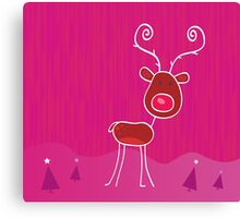 Doodle christmas reindeer Rudolph on snow. Red-nosed reindeer Rudolph Canvas Print