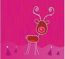 Doodle christmas reindeer Rudolph on snow. Red-nosed reindeer Rudolph Photographic Print