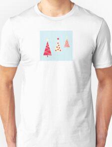 Vintage red christmas trees pattern. Modern christmas trees pattern Unisex T-Shirt