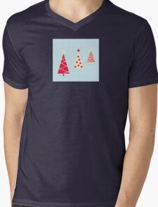 Vintage red christmas trees pattern. Modern christmas trees pattern Mens V-Neck T-Shirt