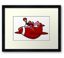 Cartoon Red Airplane Character Framed Print