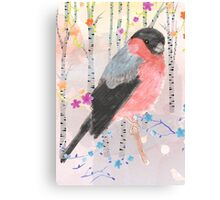 Bullfinch in the forest Canvas Print