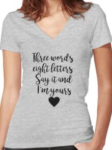 Gossip Girl - Three Words Women's Fitted V-Neck T-Shirt