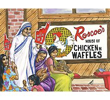Mother Teresa, Roscoe's Chicken N Waffles, We're #1 Foam Finger Photographic Print