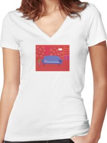 Red living room in retro style. Livingroom with sofa and bookcase Women's Fitted V-Neck T-Shirt