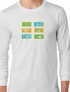 Blue and yellow retro cinema christmas tickets. Christmas shopping or entertainment Long Sleeve T-Shirt