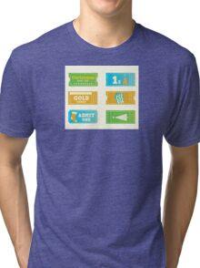 Blue and yellow retro cinema christmas tickets. Christmas shopping or entertainment Tri-blend T-Shirt