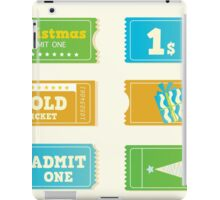 Blue and yellow retro cinema christmas tickets. Christmas shopping or entertainment iPad Case/Skin