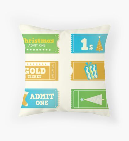 Blue and yellow retro cinema christmas tickets. Christmas shopping or entertainment Throw Pillow