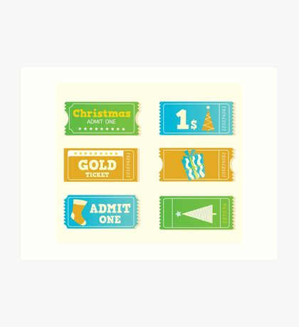 Blue and yellow retro cinema christmas tickets. Christmas shopping or entertainment Art Print