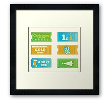 Blue and yellow retro cinema christmas tickets. Christmas shopping or entertainment Framed Print