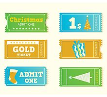 Blue and yellow retro cinema christmas tickets. Christmas shopping or entertainment Photographic Print
