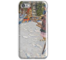 NIKOLAI BOGDANOV-BELSKY, Children in a Wintry Forest iPhone Case/Skin