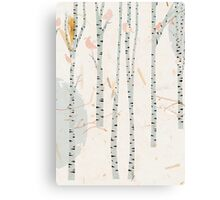 The birds in the birch tree forest Canvas Print