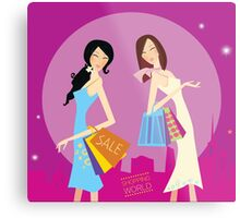 Shopping duo. Shopping girls in the city. Lifestyle fashion illustration Metal Print