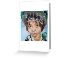 Tiny hilltribe girl in green Greeting Card
