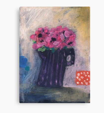 Pink anemones in striped jug Canvas Print
