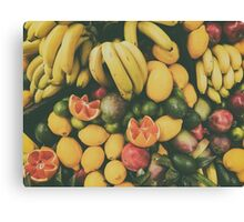 Tropical Summer Fruits In Fruit Market Canvas Print